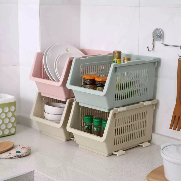 Kitchen Vegetable Fruit Storage Basket Stackable Storage Rack