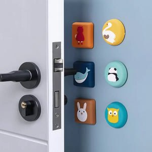 5pcs Cartoon Thickened Wall Door Handle Door Anti-collision Pad Soft Rubber Pad Door Touch Safety Child Cushion