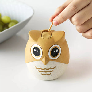 Toothpick Dispenser 1pcs Cartoon Owl Mini Toothpick Holder Cotton Swab Storage Box