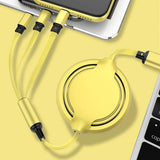 3 IN 1 Retractable Extendable USB to Type C / Micro USB / Apple Compatible Charging Cable