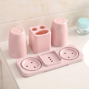 Creative Bathroom Toothbrush Holder Rack with 2 Gargle Cup