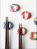 Japanese painted sakura ceramic chopstick holder lovely chopstick holder pen rest on set piece chopstick pillow chopsticks fork holder spoon stand spoon holder