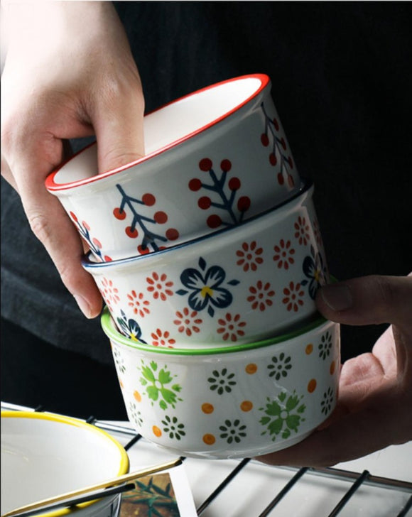 Hand-painted ceramic baking bowl、Small dessert bowl