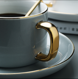 Ceramic coffee cup and saucer set European style small luxury belt afternoon cup simple retro gold edge water cup