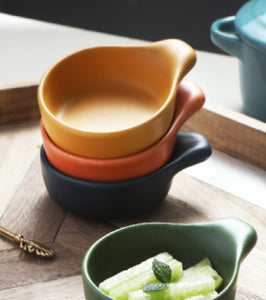 Ceramic handle small dish & household cute hot pot dry dip dish & seasoning dish & soy sauce vinegar dip dish