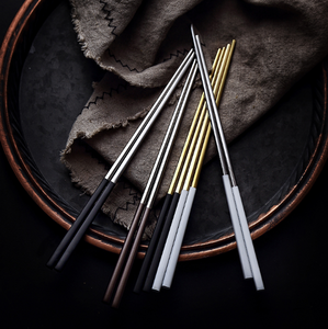 The family square head electroplated black and gold long chopsticks Portugal series anti-skid chopsticks