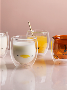 Double insulated cartoon glass with cutie milk cup for home use creative juice cup