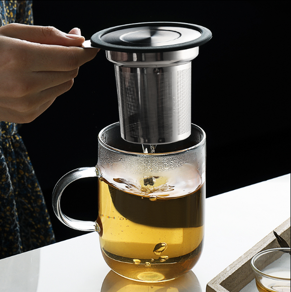 304 stainless steel dust - proof tea filter with cover