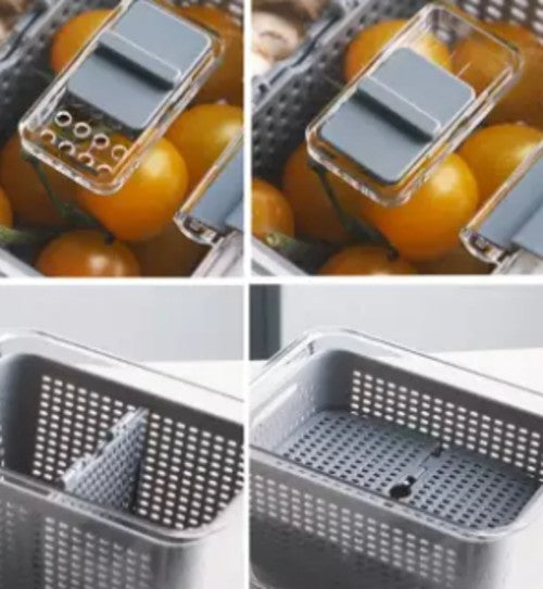 Transparent double-layer food storage box kitchen with lid drain basket; household refrigerator fruit and vegetable storage storage box