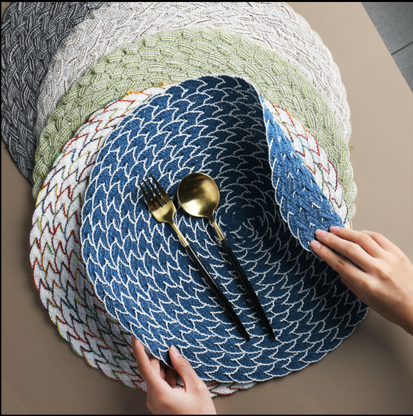 Japanese hand-woven placemat, ramie round insulation pad, dish mat, anti-hot non-slip table mat