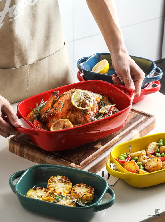 Ceramic Baking Tray & Dinner Plate & Microwave Oven & Large Size & Binaural & Baking