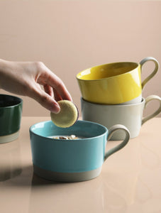 Nordic hit color ceramic mug with handle coffee cup office water cup home oatmeal breakfast cup