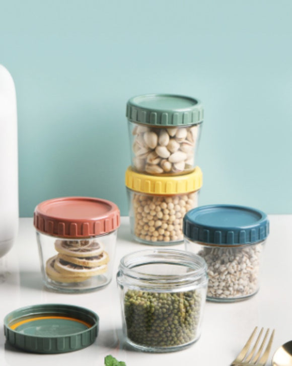 Transparent glass airtight jar with lid food storage kitchen moisture-proof dried fruit mung bean and grain storage jar