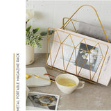 Nordic desktop simple metal portable newspapers and magazines storage basket study bookshelf decorative ornaments