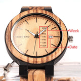 BOBO BIRD Wooden Men Watches erkek kol saati Quartz Wristwatch Male Show Date and Week Timepieces in Gifts Wood Box
