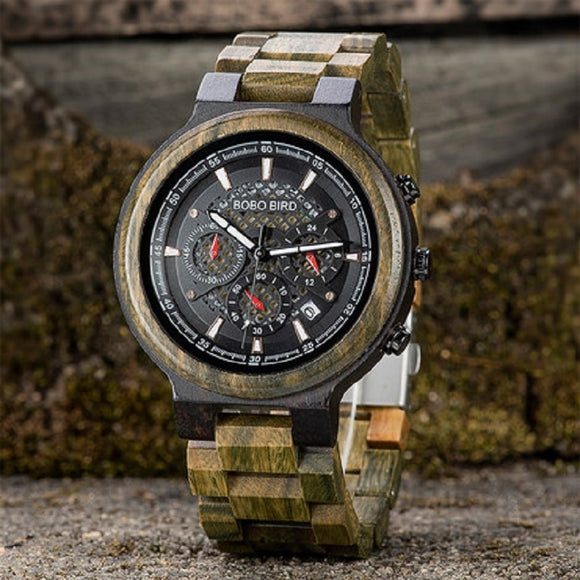 Relogio Masculino BOBO BIRD Wooden Men Watch Quartz Wristwatch Green Sandalwood Timepieces Chronograph  erkek kol saati