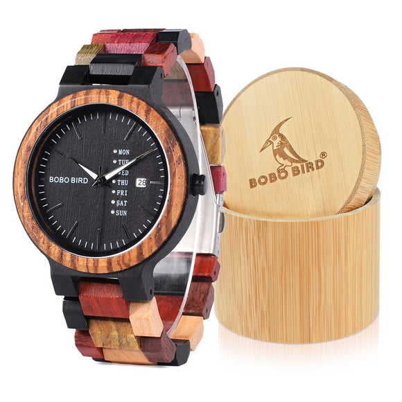 BOBO BIRD Watches Men Bamboo Wooden Watch Male relogio masculino Show date Wristwatch Quartz Gift in Wood Box erkek kol saati