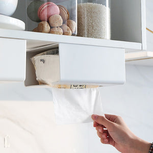 Kitchen Paper towel storage box free punch wall-mounted tissue trash bag plastic wrap multifunction organizer rack