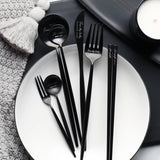Steak fork main spoon chopstick fruit fork stainless steel coffee spoon food dinner set kitchen scale plate set barang dapur cutlery set ceramic bowl kitchen tools glass container