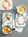 grocery&hand-painted four seasons&ceramics&rustic style&handle bowl&home breakfast tray&oatmeal bowl