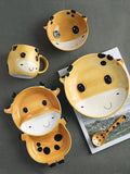 Animal ceramic children's tableware divide grid small plate cartoon lovely one person eats breakfast set baby rice bowl food dinner set kitchen scale plate set barang dapur cutlery set ceramic bowl kitchen tools glass container