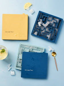 Tetris silicone ice tray for household use with lid homemade ice cube mold quick freezing refrigerator ice box