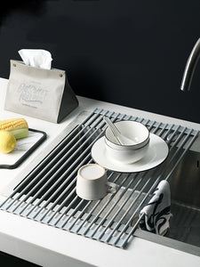 Foldable silicone drain rack, kitchen sink drain dishes, fruit and vegetable rack