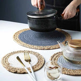 Hand-made straw meal mat non-slip heat insulation pad anti-hot cup pad large pot pad bowl cushion ( Three-piece suit)