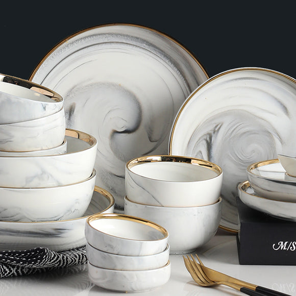 Golden edge marble two/four/six people ceramic plate set soup noodles bowl western plate tableware gift box(4 person)