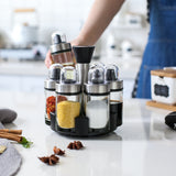 Glass seasoning bottle set can rotate kitchen soy sauce vinegar bottle with perforated cover small oil pot seasoning bottle 6 bottles