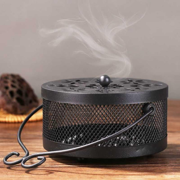 Metal Safe Mosquito Coil Holder Retro Portable Mosquito Incense Burner for Home and Camping