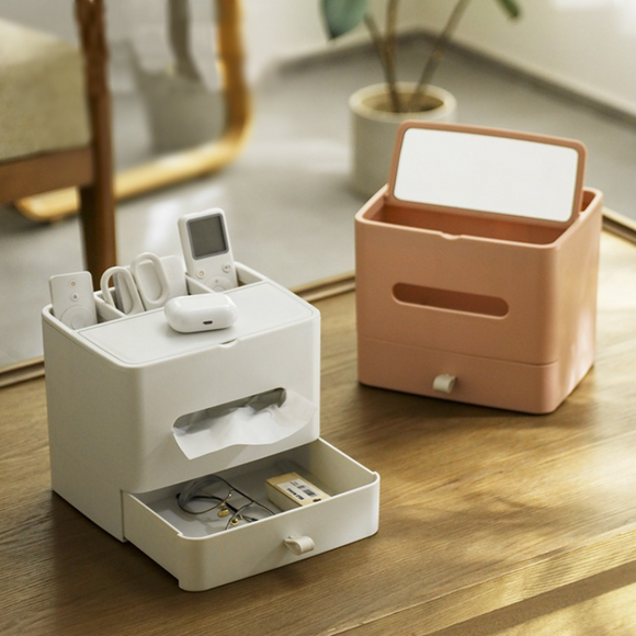 Tissue Box Home Living Room Coffee Table Creative Cute Nordic Multifunctional Remote Control Storage With Drawer & Mirror