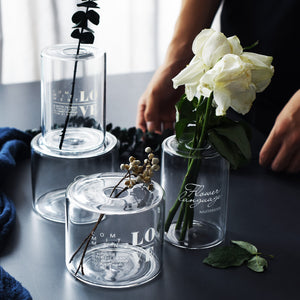 Nordic lamp worker glass vase creative dry flower aroma bottle small mouth flower water bottle decoration decoration