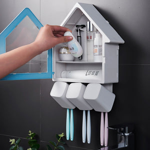 Bathroom Toothbrush Holder Wall Mount 3 Cups 6Pcs Toothbrush Holder Storage Set- No Drill Or Nail Needed