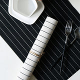 European-style black and white striped PVC heat insulation cushion western food bowl tray cup cushion table top anti-hot and anti-slippery heat insulation cushion table cloth barang dapur kitchen accessories kitchen tools
