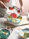 ins cute cartoon dinner plate household ceramic baking tray Nordic fruit tray dish creative handle baking tray