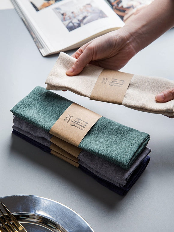 Japanese plain plain cotton and linen napkin tea towel creative cloth art western napkin table mat cloth bowl towel face towel table cloth barang dapur kitchen accessories kitchen tools