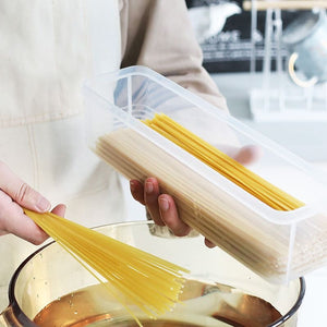 Cover spaghetti hanging noodle box rectangular chopsticks storage box kitchen moisture-proof storage plastic box freshness preservation box