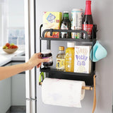 2 Layer Magnetic Metal Refrigerator Rack Side Shelf With Cling Wrap and Paper Towel Holder Kitchen Organizer Rack