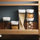 Air-Tight Food Storage Container BPA Free Clear Plastic with White Lids