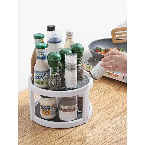 Rotating double-layer plastic bottom & desktop small object seasoning tray & multi-function & rotatable rack