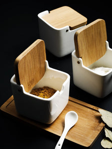 Porcelain& bamboo-covered& seasoning tank set &small seasoning box& european-style &simple seasoning& bottle combination& household