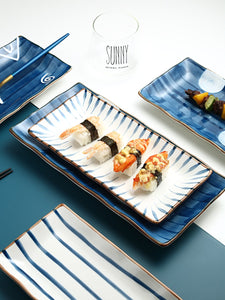 Japanese plate ceramic rectangular plate retro art sushi day tray personality dessert plate home set plate