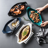 Boat shaped ceramic fish plate dish plate cheese baked rice plate microwave ovens two-ear long baking plate creative dinner plate food dinner kitchen scale plate set barang dapur cutlery ceramic bowl kitchen tools glass container