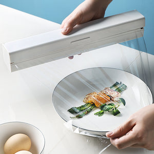 kitchen plastic wrap cutter household food storage bag storage box magnet stainless steel blade cutting box