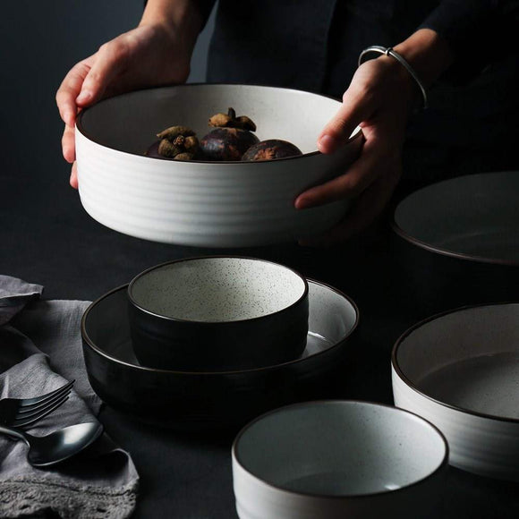 American ceramic bowl shaped bowl of shallow mouth thread size 0 deep soup plate the noodles in soup bowl of rice bowls