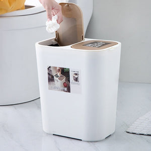 Trash Can Rectangle Plastic Push-Button Dual Compartment 12liter Recycling Waste Bin Garbage Can