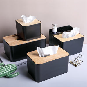 Simple wooden cover paper towel box with mobile phone rack PP desktop storage box living room dining room paper box