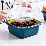 Double-layer household kitchen vegetable washing basket with lid
