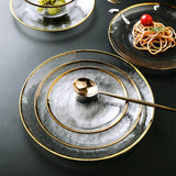 Gilt glass bowl transparent hammered glass plate european-style salad bowl fruit plate swing western plate